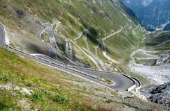Road to Stelvio mountain pass Stock Image