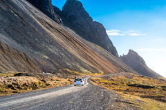 Road to Stokksnes. A Road to Stokksnes mountains. in Southeast of Iceland Royalty Free Stock Images