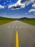 Road to Success. With painted double yellow lines Royalty Free Stock Image