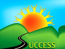 Road to Success. Landscape of rolling hills with a road to success heading into the sunset.  The road replaces the letter S in the text version of the word Royalty Free Stock Image