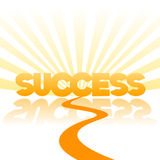 Road to success  background. Vector illustration, the road to success, useful concept for youth school and company programs, with text and sun beams Royalty Free Stock Photography