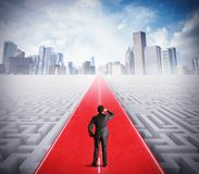 Road to success. Businessman walking on the road to success Stock Photos