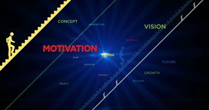 Road to success. Concept loopable animation. The silhouettes of people climbing the colorful stairs between words 3D. Idea, motivation and path to success stock video