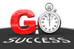 Road To Success Concept. Stopwatch as Go Sign over Success Road. Stock Photos