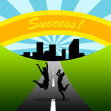 Road to success, couple, teamwork Royalty Free Stock Photography