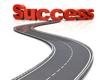 Road to success. 3d illustration of road to success concept, over white background Royalty Free Stock Images