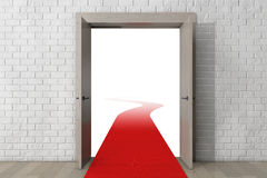 Road To Success. Door with Red Carpet in front of Brick Wall Stock Photo