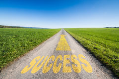 Road to success. Green meadow and a small tar road with an yellow arrow  leading  to the horizon. On the road is written the word success. Concept for business Royalty Free Stock Images