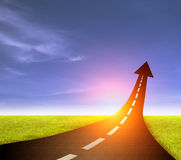 Road to success  highway road going up as an arrow Stock Images