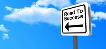 Road to Success Highway Sign. Highway sign with text. Road to Success and arrow on blue sky with clouds Stock Images