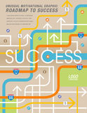 The road to success is mapped out. In this colorful graphic Royalty Free Stock Image