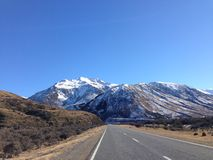 Road to success. Road to Mt Cook national park New Zealand Stock Photo