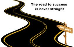 Road to success in never straight. Concept with road and arrow sign on a white background Stock Photos
