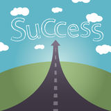 The road to success is not far and cloudy sky Royalty Free Stock Images