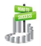 Road to success sign graph sign. Illustration design over white Royalty Free Stock Photography