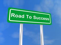 Road to success. Text 'road to success' on green roadside sign board in white text with blue sky background Stock Image
