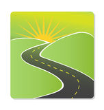 Road to sun background logo. Road to sun and green mountains design stock Royalty Free Stock Images