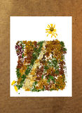 Road to the sun bouquet of pressed leaves, photo manipulation Royalty Free Stock Photos
