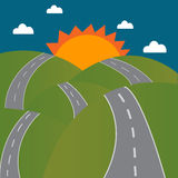 Road to the sun on mountain Royalty Free Stock Photography