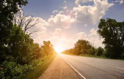 Road to sunset Royalty Free Stock Photos