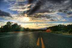 On road to sunset Royalty Free Stock Photography