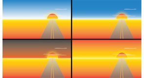 Road to sunset royalty free illustration
