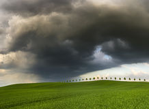 Road to super-cell. Road 113,Germany ,border Germany and Poland Royalty Free Stock Photography