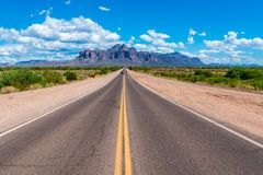Road to Superstition Mountains. The road to Superstition Mountains in Arizona Stock Photo
