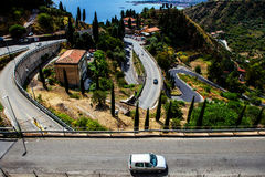 The road to Taormina, Sicily, Italy Stock Images