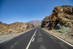 Road to the Teide volcano in Tenerife, Canary Islands Royalty Free Stock Photography