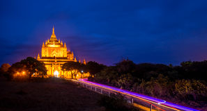 Road to the temple at night, bagan,myanmar Royalty Free Stock Image