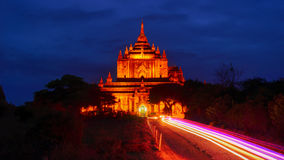 Road to the temple at night, temple of bagan. Royalty Free Stock Photography