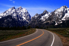Road To The Teton's. Highway leading to the Teton's, Grand Teton National Park, Wyoming Stock Photo