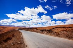Road To Tibetan Mountain Stock Photo