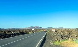Road to Timanfaya National Park, Lanzarote, Canary Islands, Spain. Stock Image