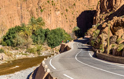 Road to Todgha Gorge, a canyon in the Atlas Mountains. Morocco Royalty Free Stock Image