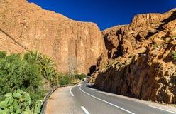 Road to Todgha Gorge, a canyon in the Atlas Mountains. Morocco Stock Photos