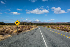 Road to Tongariro National Park, with Kiwi sign, New Zealand Stock Photography