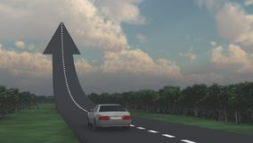Road to the top. Car goes on the road in the shape of arrow stock illustration