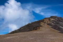 Road to the top. Dirt road to top of the hill at Ijen Crater, East java, Indonesia Royalty Free Stock Photos