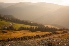 Road to Transalpin on a summer sunny day stock photo