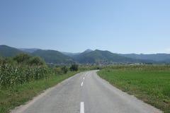 Road to Turnu Rosu mountain village in Transylvania, Romania Stock Image