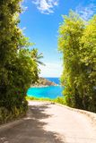 Road to the turquoise ocean and beach in Royalty Free Stock Images