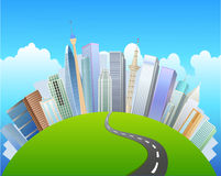 the road to the urban center and see the sights of green grass Stock Image