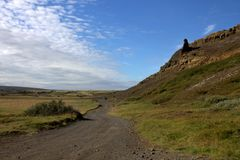 A Road to the Valley of Elves in Iceland. A gravel Road to the Valley of Elves in Iceland stock photos