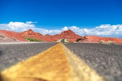 The road to the Valley of Fire - Nevada 2018 a view from the level of the road to represent the beauty of a voyage in such a deser royalty free stock images