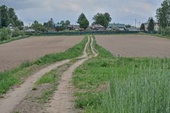 The road to the village through a plowed field.  stock photography