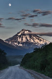 Road to Viluchinsky Volcano at night in the moonlight. Kamchatka Royalty Free Stock Photos