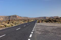 Road to volcano El Teide. Royalty Free Stock Photo