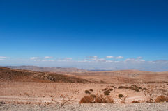 On the road to the Wadi Rum, Jordan, Middle East, desert, landscape, climate change. Jordan, 03/10/2013: jordanian landscape and desert on the road to the Wadi royalty free stock image